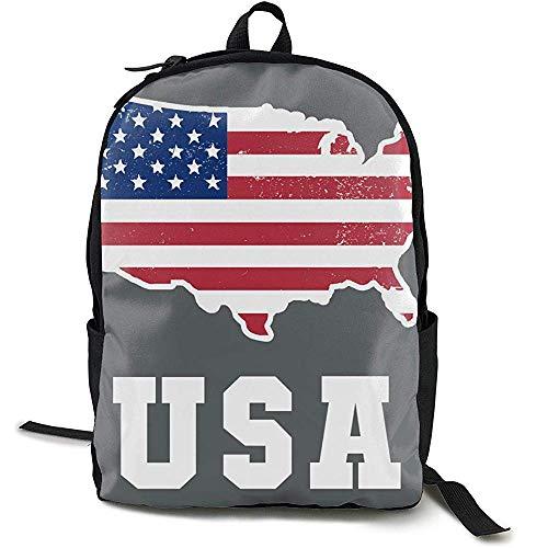 Rugzak, reisrugzak grote luiertas - Amerikaanse vlag patriottische USA kaart grijze rugzak School rugzak voor vrouwen & mannen