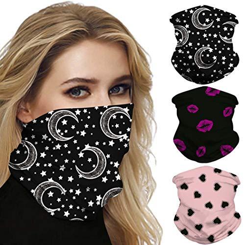 IYOU Mode Outdoor Neck Gaiter Black Moon Elastic Face Scarf Star Imprimé Moto Balaclavas Dust Bicycle Bandana pour femmes et hommes (pack de 3)