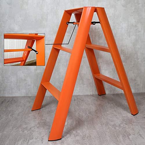 Kleiner Leiter Haus Klappleiter Aluminiumlegierung Dicker Fischgrät-Ladder Schlafsaal Leitergestell (DREI-Stufenleiter) Stabilität und Sicherheit (Color : Orange)