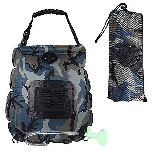 Bolsa de ducha solar al aire libre, 20 l portátil bolsa de ducha de camping con cabezal de ducha e indicador de temperatura para camping, playa, viajes al aire libre (azul camuflaje)