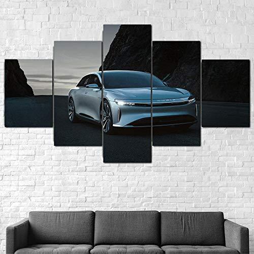 AWER 5 Piezas Coche de lujo eléctrico Lucid Air Cuadros Moderno HD Póster para Pared Decoración Modulares Salón Decoración Para Hogar Listo para Colgar en un Marco