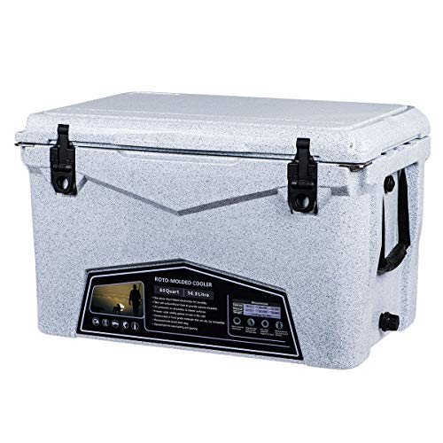 Xspec 60QT Quart Roto Molded High Performance Cooler, Granite Print, Pro Tough Outdoor Ice Chest, Durable Stylish Rotomolded with Bottle Openers, with Vacuum Release Valve and Easy Snap Tight Latches
