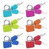 Candado Colores con Llave, 6 Piezas Pequeño Cerraduras de Equipaje para Mochilas, Armarios, Archivadores, Equipaje y Maleta Viaje (6 Colores)