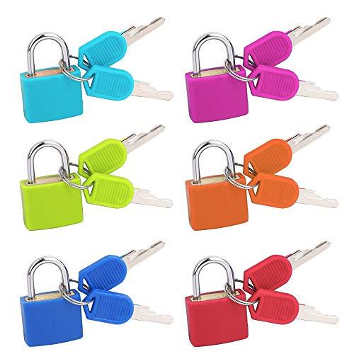 Kofferschloss mit Schlüssel, 6 Stücke Mini Vorhängeschloss Bunt Kleine Gepäckschloss für Tasche, Schrank, Reisekoffer, Werkzeugkasten