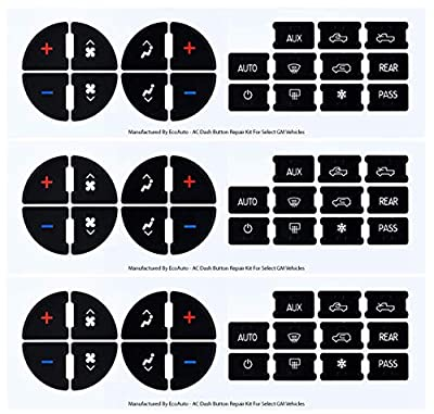EcoAuto AC Dash Button Replacement Decal Stickers (Pack of 3) for Select GM Vehicles - AC Control & Radio Button Sticker Repair Kit - Fix Ruined Faded A/C Controls