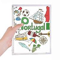 ポルトガルの愛の心の風景の国旗 硬質プラスチックルーズリーフノートノート