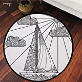 №13912 Round Area Rug Floor Kitchen Carpet, Sailboat Nautical Decor,Doodle Boat Floating On Waves Ornate Rope Features in Figures Ocean Theme Art,Black White, for Home Decor