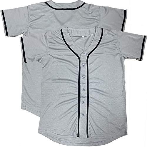 Blank Plain Hip Hop Hipster Baseball Jersey Button Down Shirts Sports Uniforms Men Women Jersey (Grey, XXX-Large)