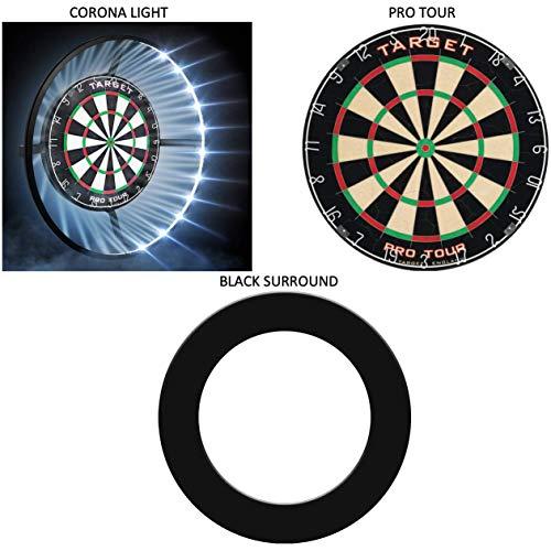 Target Corona Light + Pro Tour Dartscheibe + Black Surround Komplettes Dartboard / Beleuchtung Bundle