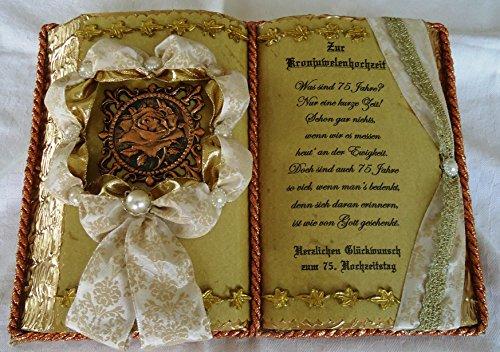 Kronjuwelenhochzeit -75-jähriges Ehejubiläum- Dekobuch (mit Holz-Buchständer), Schmuckbücher für alle Anlässe