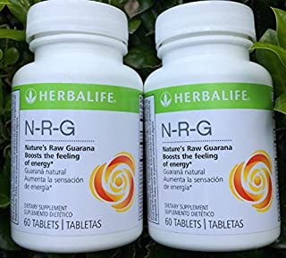 Herbalife NRG (Nature's Raw Guarana) Tablets 2-Pack Combo 60 Tablets Per Bottle