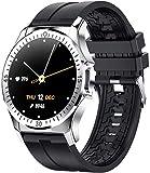 Smart Watch 1 2 da 28 pollici ad alta definizione Full-touch TFT Color Screen Multi-funzionale Modalità sportiva Salute e impermeabile Formatore di fitness per Android e IOS-Silver Green-Argento nero.