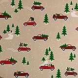 Dekostoff Weihnachten Auto mit Tannenbaum Dekorationen -