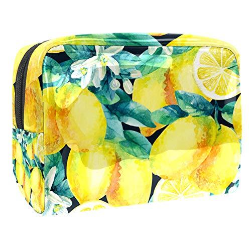 Bolsa de maquillaje portátil con cremallera bolsa de aseo de viaje para las mujeres práctico almacenamiento cosmético bolsa planta fruta amarillo limón patrón