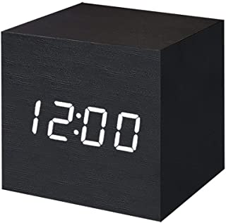 T&F Digital Alarm Clock Wooden LED Light Multifunctional Modern Cube Displays Date..