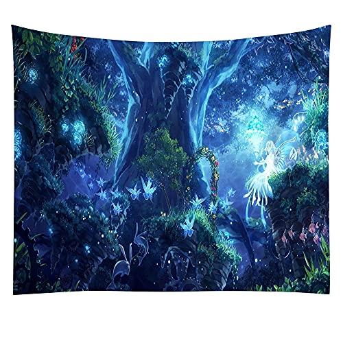 KHKJ Tapiz de Bosque Virgen árbol en Bosque brumoso Tapiz Colgante de Pared Paisaje Natural Tapiz decoración para Sala de Estar Dormitorio A7 150x130cm