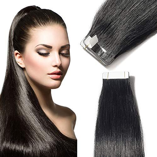 TESS Tape Extensions Echthaar Klebeband günstig Haarverlängerung 18 Inch 20pcs Glatt Remy Tape in Haarextensions Schwarz (#1 45cm-50g)