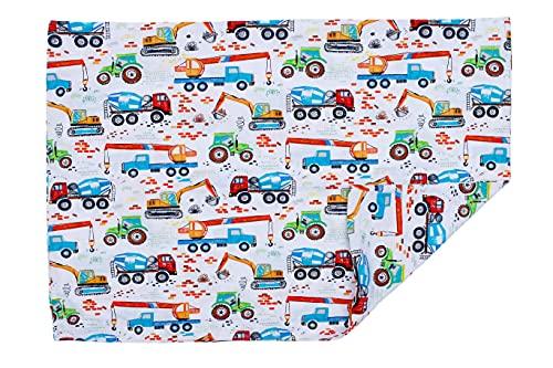 PULP Baby Kissenbezug Kissenhülle 40 x 60 cm mit Reißverschluss aus 100% Baumwolle (Bagger)