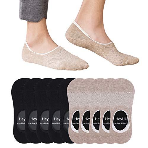 HeyUU 10 Paar Herren & Damen Baumwolle Kurze Sneakersocken Füßlinge Unsichtbare Sneaker Socken Mit 8 Rutschfeste Silikonstreifen(5x Schwarz+5x Beige,39-42)