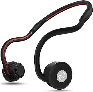 GXSLKWL Intelligent Bone Conduction Sports Foldable Bluetooth Earphones Ear Hook Stereo Sweatproof Voice Control Earbuds w...