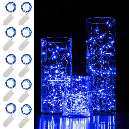 HYAL LUZ 10 Pack Fairy Light, 6.6 ft 20 LED Battery Operated Fairy String Lights Waterproof Copper Wire Starry Lights Mason Jar Lights Firefly Lights for DIY Wedding Party Christmas Decor (Blue)