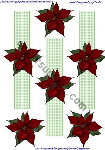 Poinsettia Table Napkin Rings by Lorraine J Bush