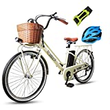 NAKTO 26' 250W City Electric Bicycle Sporting Shimano 6- Speed Gear EBike with Removable 250W 36V10A Lithium Battery