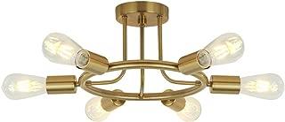 BONLICHT 6 Lights Semi Flush Mount Ceiling Light Brushed Brass Mid Century Modern Chandelier Lighting Gold Sputnik Ceiling Light Fixture for Dining Room Bed Room Kitchen Island Foyer Hallway