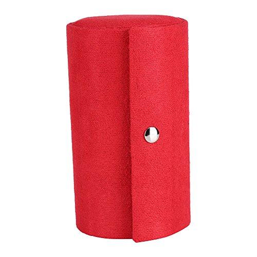 Zerodis Caja de Almacenamiento de joyería Cilindro de Franela Caja de joyería portátil 3-Layer Roll Up Joyero Organizador de Almacenamiento Titular de Collar Pendientes Anillos(Gran Rojo)