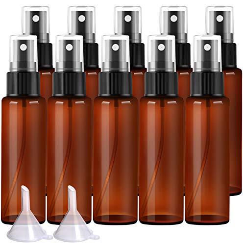 10 × 30ml Pump Sprühflasche mit Trichter, FANDAMEI Bernstein Zerstäuber 30ml Sprayflasche Leer Parfumzerstäuber aus Kunststoff (10 X 30 ml)