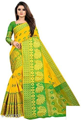 FIRST SELECT CLOTHES Women's Banarasi Cotton Silk Saree With Blouse Piece