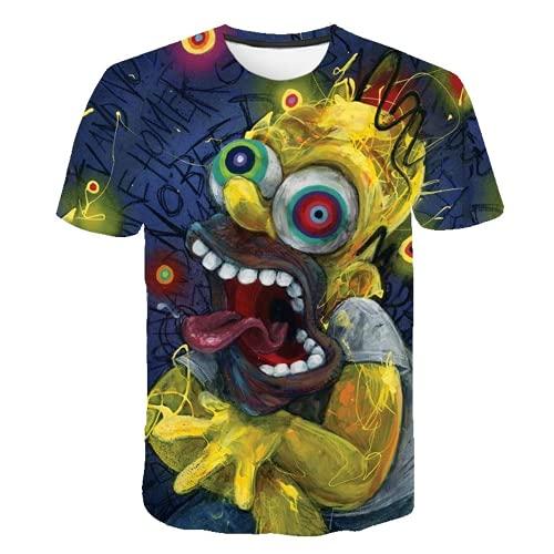MPY-SEA Simpson T-shirt män 3D-tryck kortärmad t-shirt Homer Simpson och hans son rolig t-shirt mode casual toppar unisex märkeskläder flerfärgad Simpson 5 120