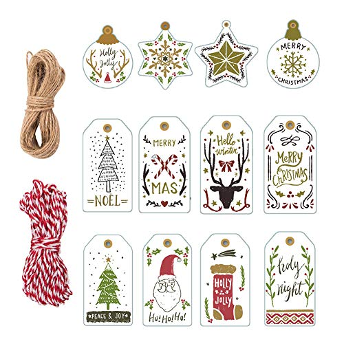 122 Pcs Christmas Label Gift Tags Kit,120 White Luggage Tags,Gift Labels Tags Labels with String,Xmas Present Wrapping Craft Hang Tags for Merry Christmas Holiday Wedding Party Favours Supplies