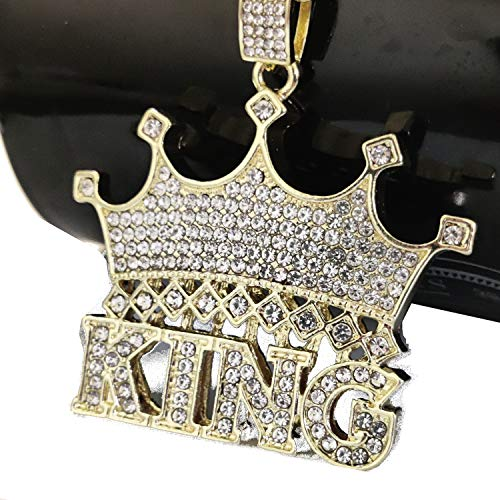 Iced Out Big King Crown 14K Hip Hop Gold Plate Jewelry Bling Necklace 30 inches Rope Chain Included