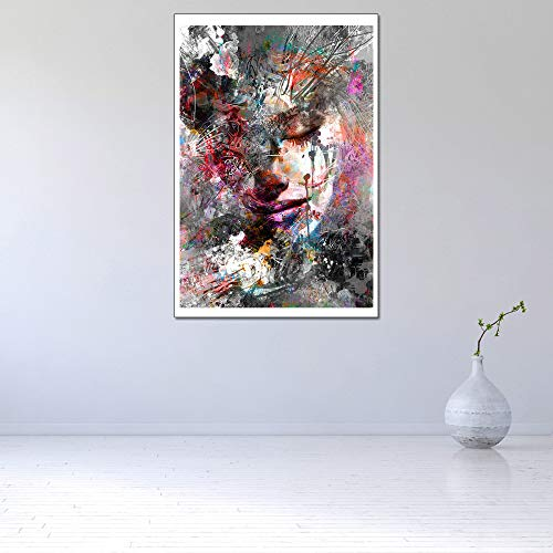 WSNDGWS muurschildering kunst bosgodin hoofddecoratie modern olieverfschilderij geen fotolijst 40x60cm A4.