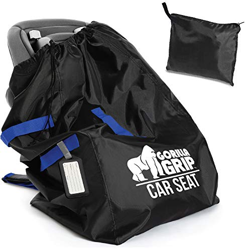 Gorilla Grip Car Seat Bag with Pouch and Luggage Tag, Adjustable Padded Backpack Straps, Many Colors, Easy Carry, Universal Size Travel Bags, Airport Flying with Baby, Airplane Gate Check, Blue Straps