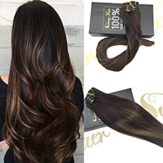 【6% Off】Sunny Clip in Extensions Human Hair 20 inch Double Weft Clip in Human Hair Extensions Balayage Light Brown Mixed Darkest Brown Remy Hair Clip in 7pcs 120g