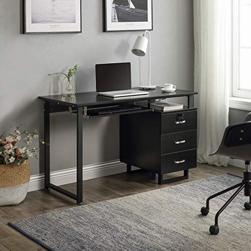 Computer Desk, Home Office Desk, Wood Frame Student Table with 3 Drawers, PC Laptop Notebook Desk, Spacious Workstation Writing Study Table