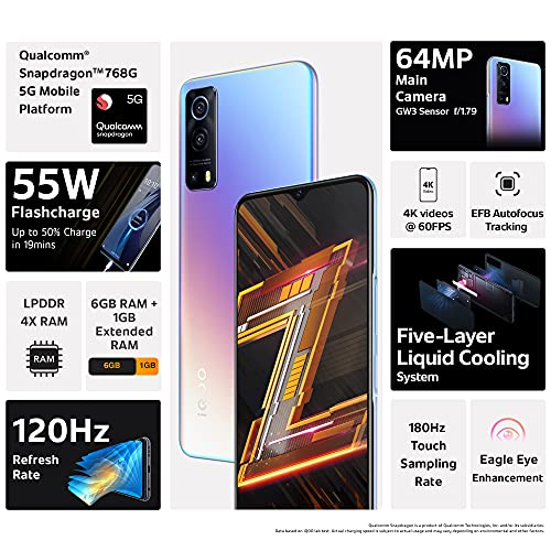 iQOO Z3 5G (Cyber Blue, 6GB RAM, 128GB Storage)   India's First SD 768G 5G Processor   55W FlashCharge   Upto 9 Months No Cost EMI   6 Months Free Screen Replacement