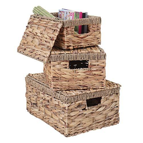 Mendler 3er Set Aufbewahrungsbox HWC-C23, Truhe Kiste Box mit Deckel, Wasserhyazinthe naturfarben - 2
