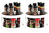 House of Quirk Pack of 2 Non Skid Turntable Lazy Susan Cabinet Organizer - 2 Tier 360 Degree Rotating Spice Rack - 9.4 Inch Spinning Carasoul Pantry, Kitchen, Countertop, Vanity Display Stand