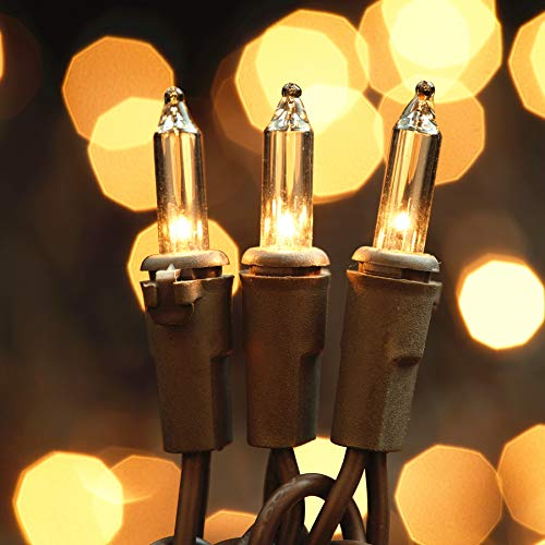 League Power Brown Cord Clear String Lights, 200 Lit UL Certified and Commercial Grade Mini Lights Set, Pack of 2 Sets 100, for Indoor Outdoor Party, Garden, Fences, Trees.