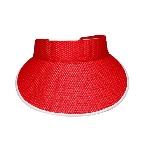 DAZISEN Damen Golf Visier - Sonnenhut Gitter Volltonfarbe großes Strand Visoren Cap Einstellbar Sommerhut für Damen Sonnenschild Visor,Rot