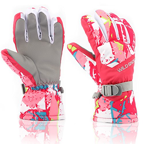 Ski Gloves,RunRRIn Winter Warmest Waterproof and Breathable Snow Gloves for Mens,Womens,ladies and Kids Skiing,Snowboarding(Pink-White-L)