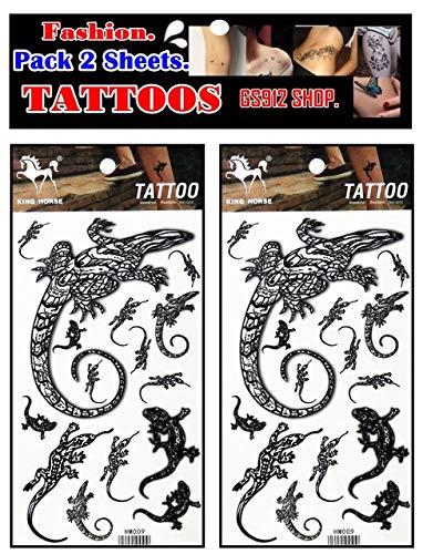 GS912 Tattoos. Iguana Lizard Salamander Gekko Animal Cartoon Tattoo Fake Temporary Stickers Sheets Paper Tattoos Body Art Make up Waterproof for Kids Adults Women Men (Pack 2 Sheets.) (08)