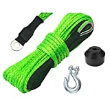 """TYT 1/4"""" x 50ft Synthetic Winch Rope, 8500lb Winch Cable with Black Protective Sleeve Winch Synthetic Rope with Sheath, 12 Strands Braided Synthetic Winch Cable for ATV UTV SUV Winch Rope (Green)"""