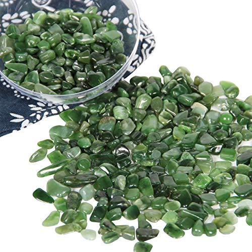 Chips de Cristal de Jaspe Verde triturada Natural de 500g, Cristales curativos a Granel, Piedras Preciosas de Cristal triturado para Manualidades, Hermoso Paquete para Regalo