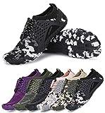 AMOCOCO Men's Women's Minimalist Trail Running Barefoot Shoes Wide Toe Box Quick Drying Beach Sneakers Black Dark Grey, 10.5 Women/9 Men