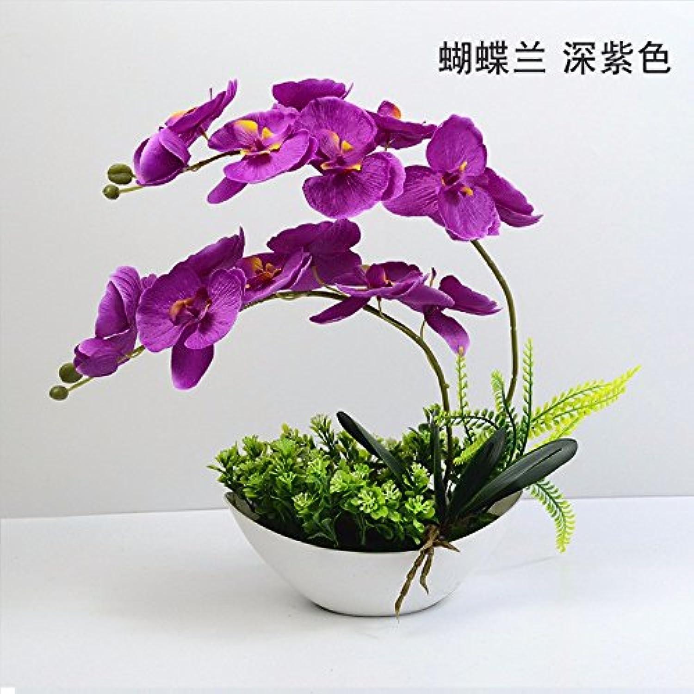 GBHNJ Falso Morado Oscuro Florero Artificial Decoración Orquídea Mariposa