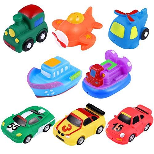 MISS KANG 8pcs Bath Squirties, vehículos Blandos Squeeze y Squirt Bathtub Squirters para niños Qingchunw